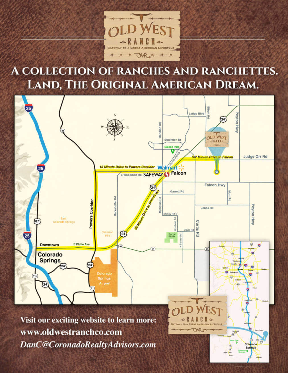 Old West Ranch CO Location Aerial Map -Colorado Springs Ranch land for sale - rural real estate