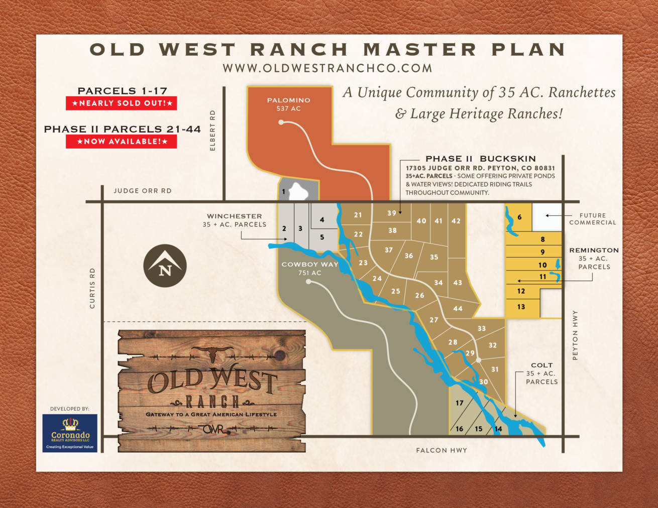 Old West Ranch CO Master Plan Map - land for sale